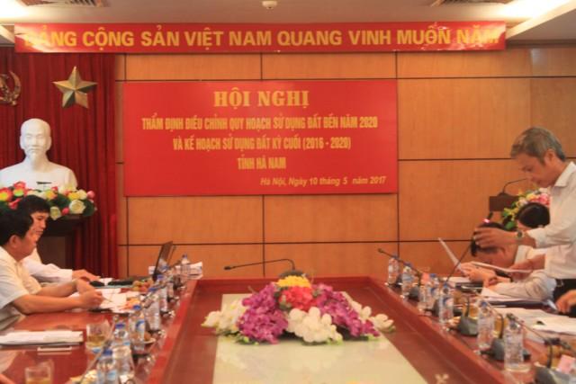 Hội đồng thẩm định điều chỉnh quy hoạch sử dụng đất đến năm 2020 và kế hoạch sử dụng đất 5 năm kỳ cuối 2016-2020 tỉnh Hà Nam